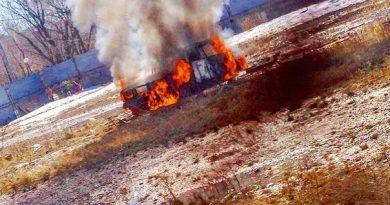 горел заброшенный автомобиль
