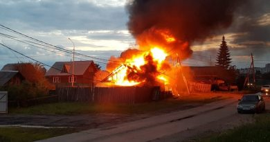 ночной пожар в Тюмени