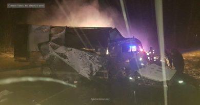 KIA и КАМАЗ сгорели в жуткой аварии под Тобольском, два человека погибли