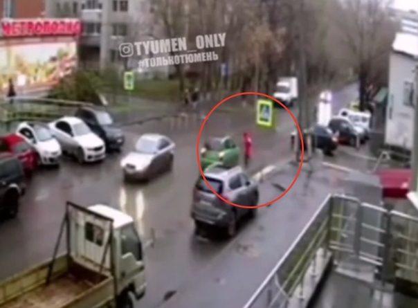 Опубликовано ВИДЕО момента ДТП на Циолковского, где KIA сбил 13-летнюю школьницу