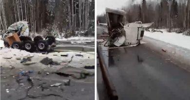 Жуткая авария с фурами на трассе в Уватском районе. ВИДЕО очевидца