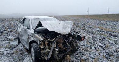 """Toyota Camry """"ушла"""" в поле под Ишимом, водитель погиб"""
