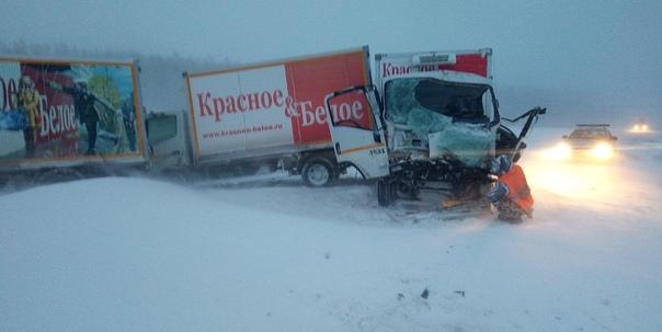 Сразу четыре грузовика КБ столкнулись на трассе Шадринск-Ялуторовск, еще один перевернулся сам