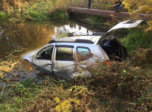 """""""Сели в лужу"""". В Боровском новый паркетник пробил забор и затонул в реке"""