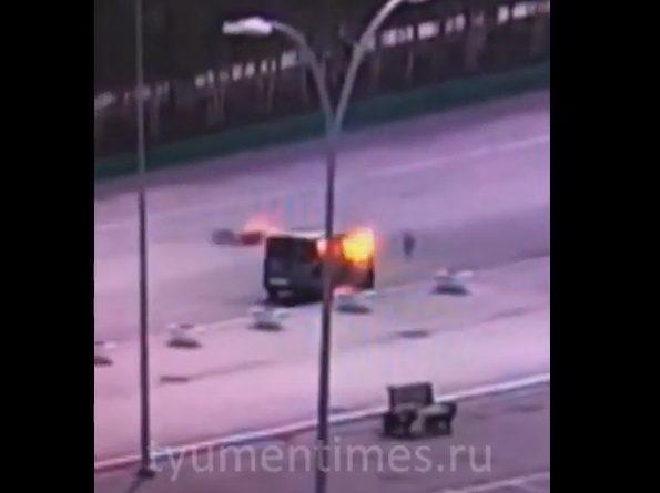 Взрыв автомобиля в Нягани попал на ВИДЕО