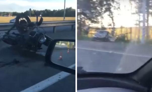 Разбились парни на мотоциклке с люлькой. Жуткая авария на Московском тракте
